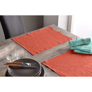 Lot de 2 set de table 30x40 lin et coton lys orange
