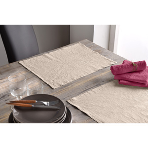 Lot de 2 Serviette 45x45 lin et coton raisin