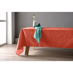 Nappe 160x160 lin et coton lys orange