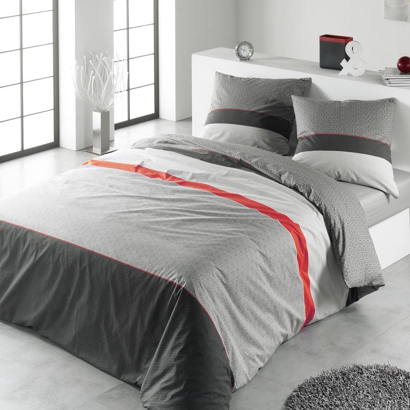 Parure de couette rick rouge 2 pieces 140x200 en coton 57 - Housse de couette grise et rouge ...